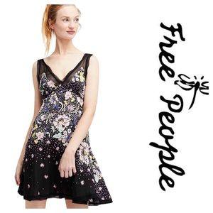 New Free People Longwood Printed Slip Dress Black